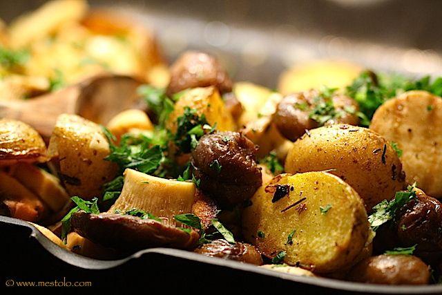 Pilz-Kartoffel-Pfanne mit Maronen