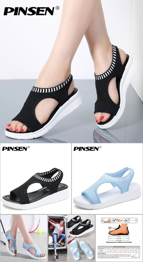 4cedc2f465d43 PINSEN Women Sandals 2019 New Female Shoes Woman Summer Wedge Comfortable Sandals  Ladies Slip-on Flat Sandals Women Sandalias