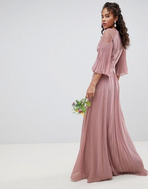 edbad66e117 DESIGN Tall pleated paneled flutter sleeve maxi dress with lace ...