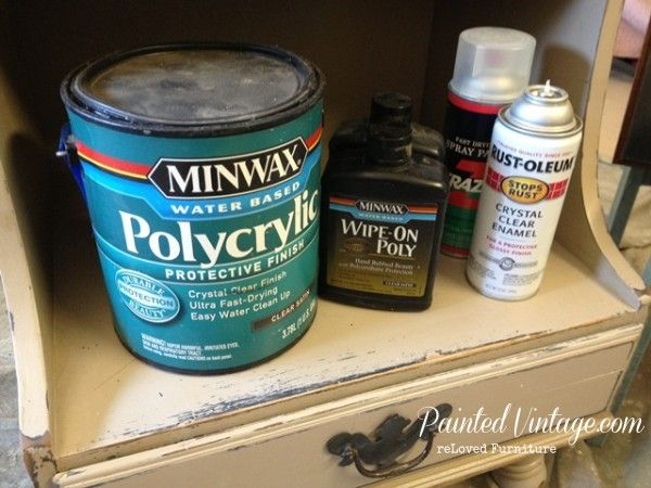 To Wax or Not To Wax Over Chalk Paint? Choices other than wax. Minwax Polycrylic, Minwax Wipe-on Poly, Rust-oleum Crystal Clear Enamel Spray.
