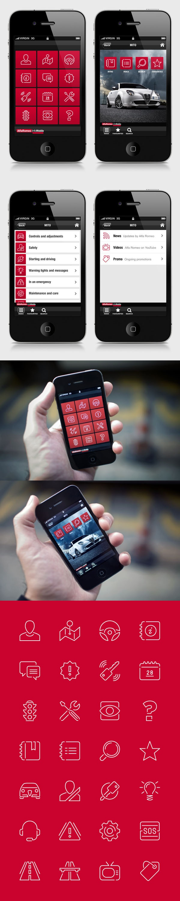 Alfa Romeo Mobile - Pictograms by Stefano Vetere, via Behance *** Icons set redesign proposal done for Alfa Romeo Info Mobile application, for iOS and Android.
