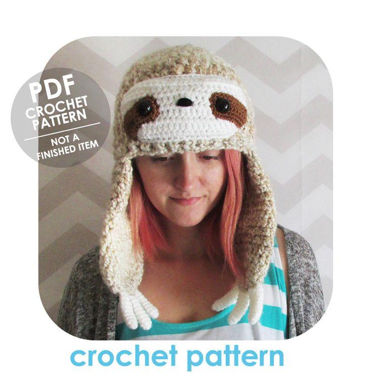 INSTANT DOWNLOAD - Kawaii sloth earflap hat - winter beanie - PDF crochet pattern by HELLOhappy on Etsy