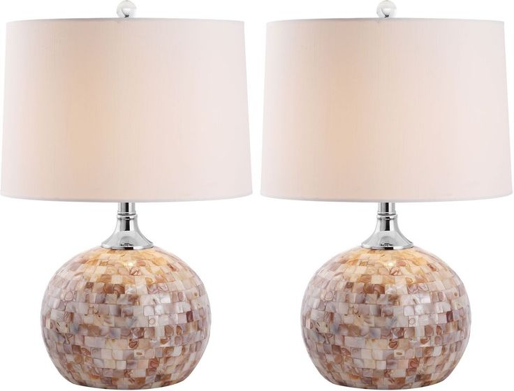 Contemporary Table Lamps Lighting Sea Shell Silver Neck White Drum Shade 2 Set #Safavieh #Contemporary #Lamps #TableLamps #Lighting #Decoration