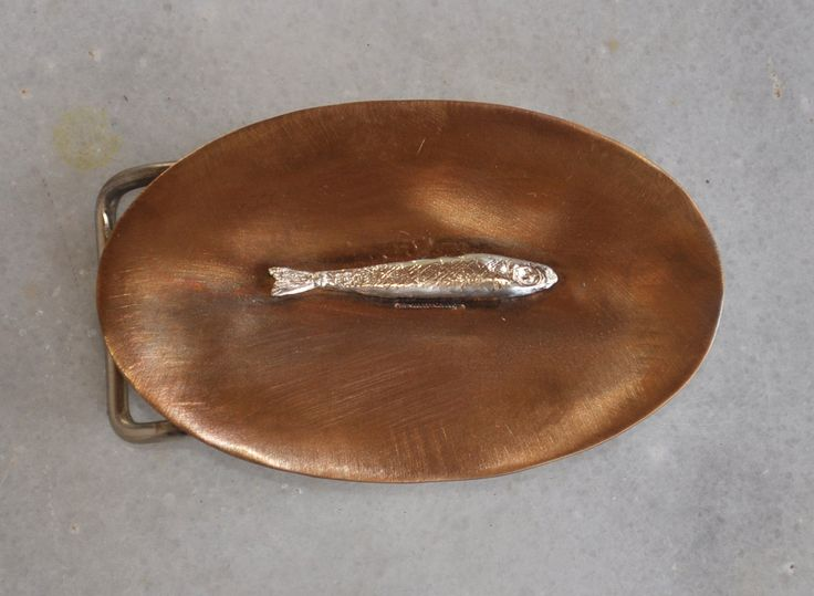 "Handmade belt buckle ""fish"" in brass with 1 silver sardine by TakisBrass on Etsy"