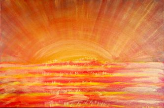 South Pacific Sunset 90cm x 60cm acrylic on canvas