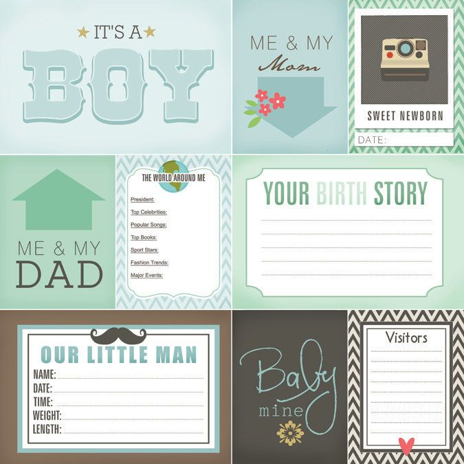 Newborn Journal Cards. Baby Boy Digital di ScrapbookCustoms1