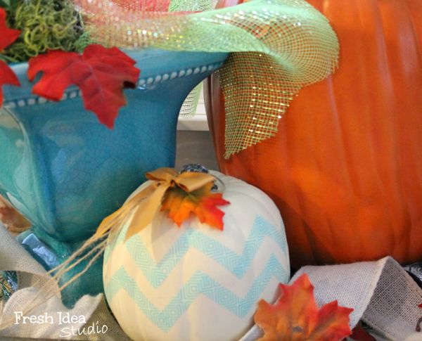 Five Minute DIY: How To make your own Chevron Pumpkin {the easy way} & more great tips for Fall decorating  |  Fresh Idea Studio.com ~ Your place for DIY