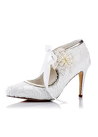 Gorgeous Lace Upper Pointed Toe Stiletto Heels Bridal Shoes With Pearls