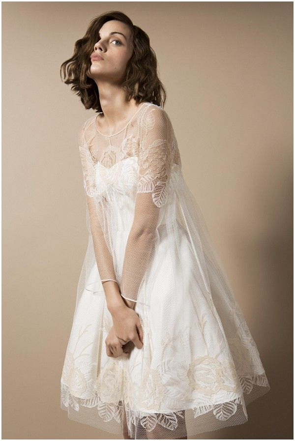 Delphine Manivet cocktail inspired wedding dress. Striking look, tons of lace but simple enough for a stylish beach wedding in Sri Lanka.