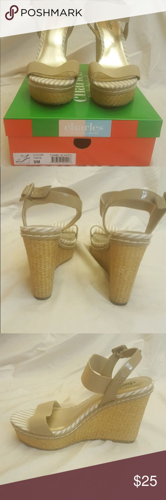 Charles David Tapia Wedges Camel Espadrille Wedges. 4.5 inch heel. Very good condition. With box. Charles David Shoes Wedges