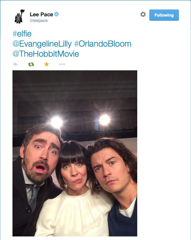 Lee tweeted #elfie XD  HA an elfie lol this is awesome