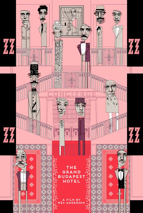 "6 colour, hand screened print inspired by the Wes Anderson film 'The Grand Budapest Hotel"" by Conor Langton.   Limited edition of 170! 100 of these will be used for promotion purposes. 70 will go up for sale via the artist's big cartel site to cover printing costs! Print cost $40 + shipping. Print size 24″ x 36″ 10% discount code ""QUIXOTIC"""