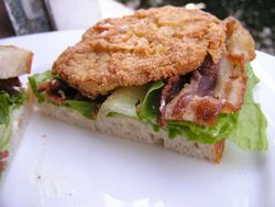 Fried Green Tomato BLTs... because yes, it's going to freeze tonight and it's only September!!!