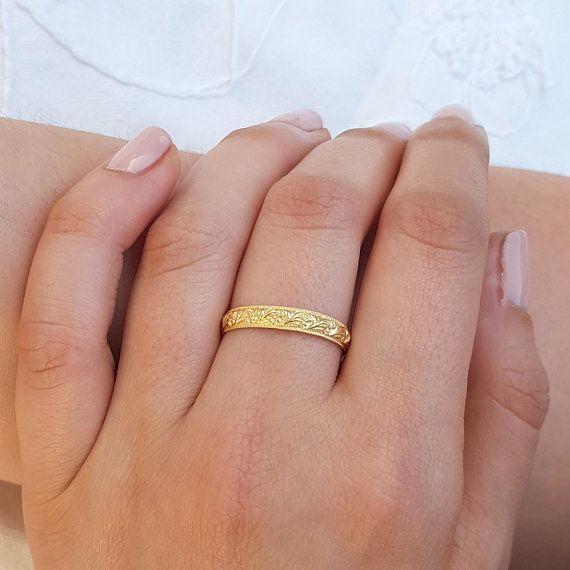 Unique Wedding Ring 18k Gold Wedding Ring Gold Wedding Ring Wedding Band Women Stack Wedding Ring Patterned Wedding Band Antique Style Wedding Rings Unique Etsy Wedding Rings Patterned Wedding Band