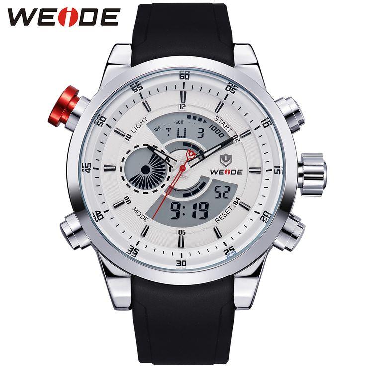 WEIDE jam tangan pria digital Watch Men Luxury Brand Men Analog Digital PU Strap Complete Calendar 30M Waterproof Watches