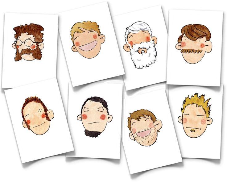 IDEA!!! Muchas tarjetas de temas varios... Preciosos dibujos Hair flash cards