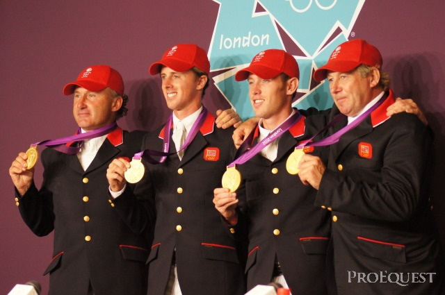 Gold for Great Britain. From left to right; Peter Charles, Ben Maher, Scott Brash and Nick Skelton.