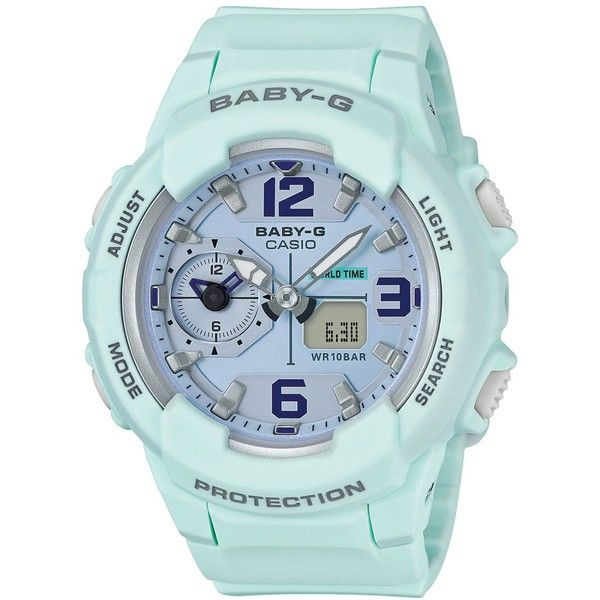 G-Shock Women's Analog-Digital Baby-g Sky Blue Resin Strap Watch 49mm... ($120) ❤ liked on Polyvore featuring jewelry, watches, blue, g shock watches, blue jewelry, analog digital watches, ana-digi watches and g shock wrist watch