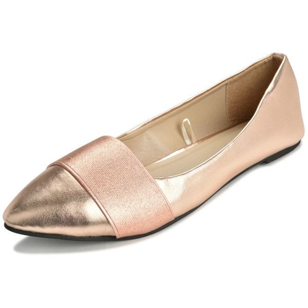 Women's P26 Womens Banded Ballerina Ballet Flats Shoes (32 PEN) ❤ liked on Polyvore featuring shoes, flats, rose gold, ballerina flat shoes, ballet shoes flats, skimmer shoes, ballerina pumps and rose gold ballet flats