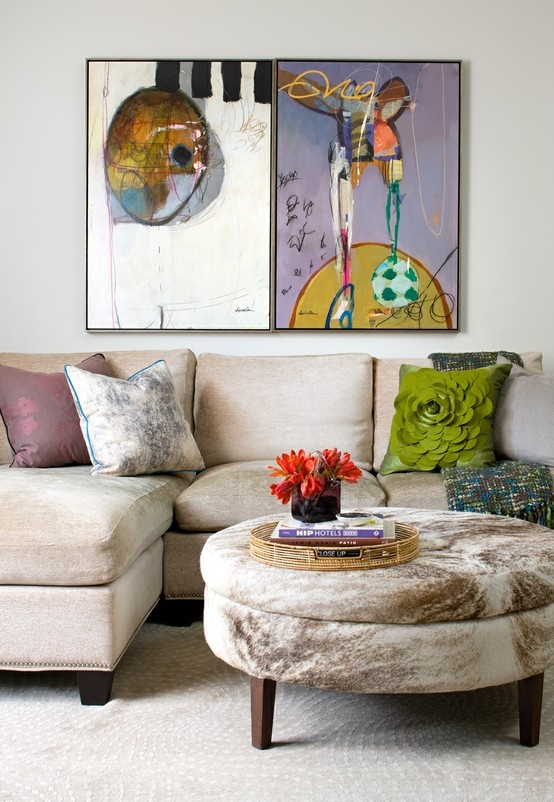 Custom sectional, hide storage ottoman original art Lisa Ferguson Interior  Design >>>> - 195 Best Images About Living Rooms On Pinterest Atlanta Homes