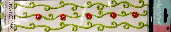 EK Success Jolee's Boutique Green & Red Vine Icing Borders Stickers