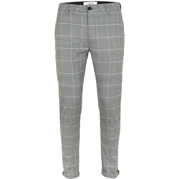 Topman Grey Check Stretch Skinny Chinos (€41) ❤ liked on Polyvore featuring men's fashion, men's clothing, men's pants, men's casual pants, men trousers, mens tapered pants, mens skinny chino pants, mens skinny pants, mens flat front dress pants and mens stretch pants