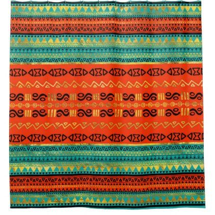 Ethnic Tribal Pattern Gold Orange and Teal Shower Curtain - shower curtains home decor custom idea personalize bathroom