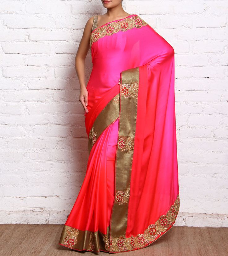 Red & Pink Silk Saree With Cut Dana And Dori Work #ethnicwear #embroidery #lehengas #sarees