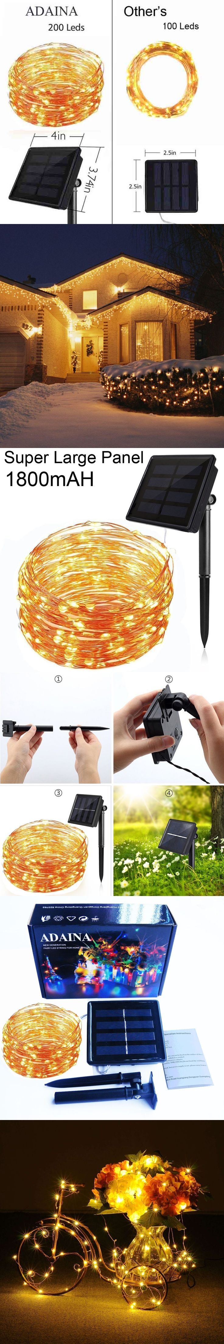1800mAh 20M/66Ft 200LED 8 Model Garde Solar Copper Wire LED String Light Outdoor Waterproof For Wedding Christmas Decoration