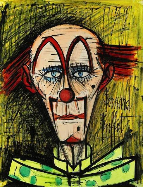 Clown a la Cravate a Pois acrylic, guache and pencil laid on paper 25 3/5 × 19 7/10 in 65 × 50 cm