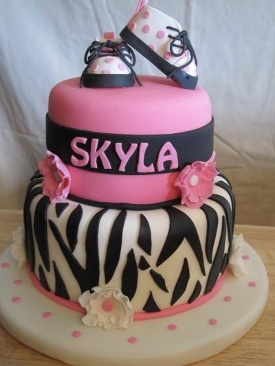 Zebra themed baby shower cake By Reanie51 on CakeCentral.com