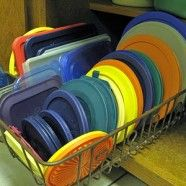 A dish tray that you use for drying dishes can be repurposed as a tupperware lid storage caddy. Why didn't I think of that?