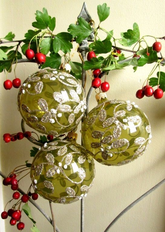 GISELA GRAHAM Christmas glass baubles SET of 3 green and gold vintage antique | eBay