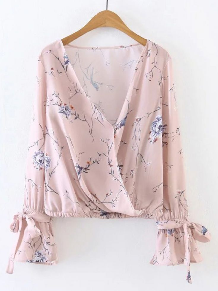 Buy Pink Floral Print V Neck Wrap Blouse With Bow from abaday.com, FREE shipping Worldwide - Fashion Clothing, Latest Street Fashion At Abaday.com