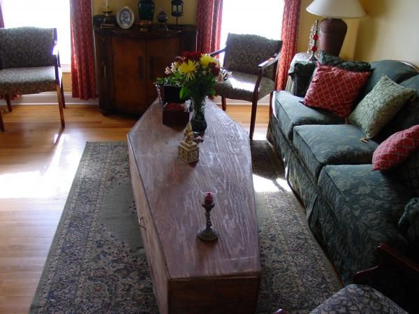 what my coffin table will look like but i think mine is older not to mention it came out of my granparents general store