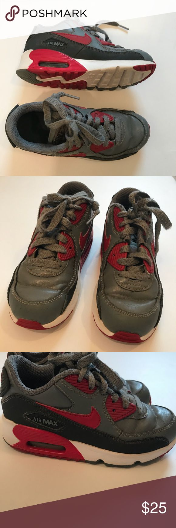 Nike Air Max Sneakers Nike. Air Max Sneakers. Size 12 C. Shoes are in good used condition. A small amount of red color has come off the side. (See photo). Nike air max Shoes Sneakers