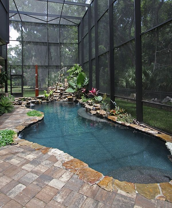 Indoor Pool Ideas indoor pool in rustic style room with wooden beams and stone wall 50 Amazing Indoor Swimming Pool Ideas For A Delightful Dip