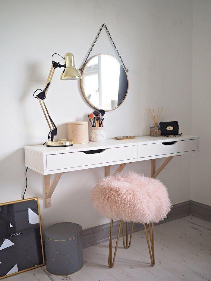 Uber 1001 Make Up Waschtisch Ideen Fur Ihren Eigenen Schonheitssalon In 2020 Floating Shelf With Drawer Bedroom Makeup Vanity Diy Furniture Bedroom