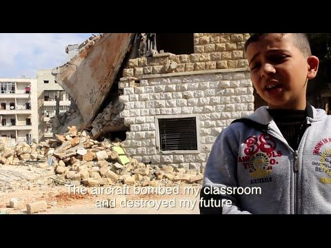 The aircraft bomber my classroom and destroyed my future. #Syria #Halloween - Real Fear of Children in War