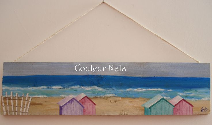 Peinture sur bois de palette sc ne de bord de mer cabines de plage peintures par couleur nala for Peindre des palettes