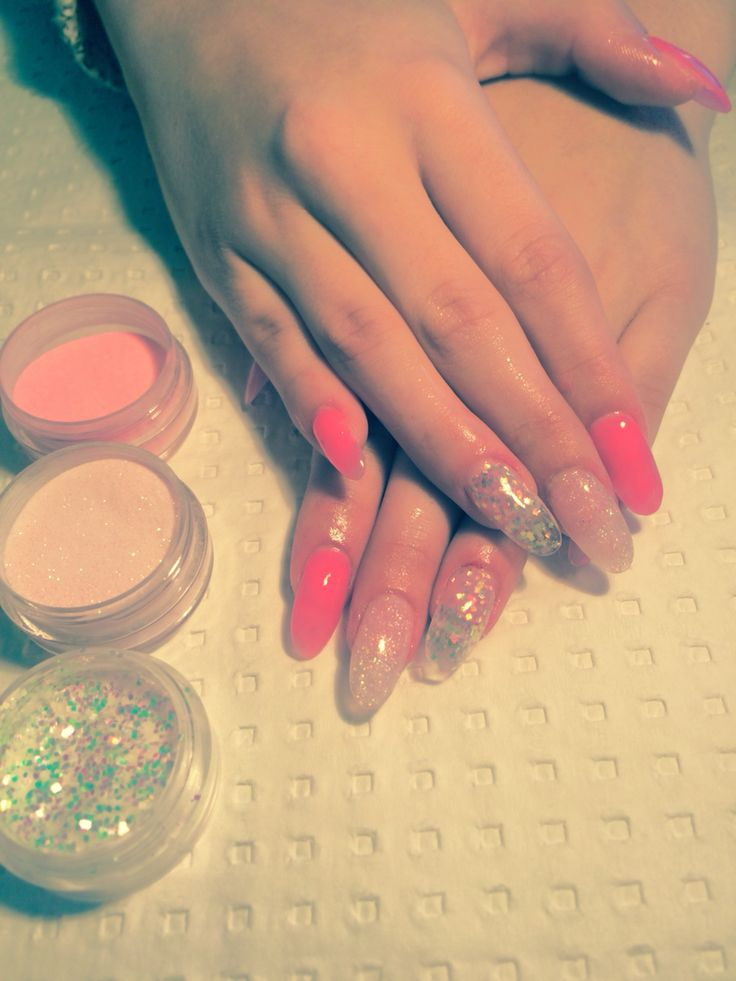 Sculptured nails in Candy Sparkle,Glowing Diamonds & Uv Glow Pink Acrylic mixes.