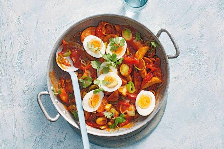Stoof van prei, tomaat, aardappel en ei (345 Kcal)