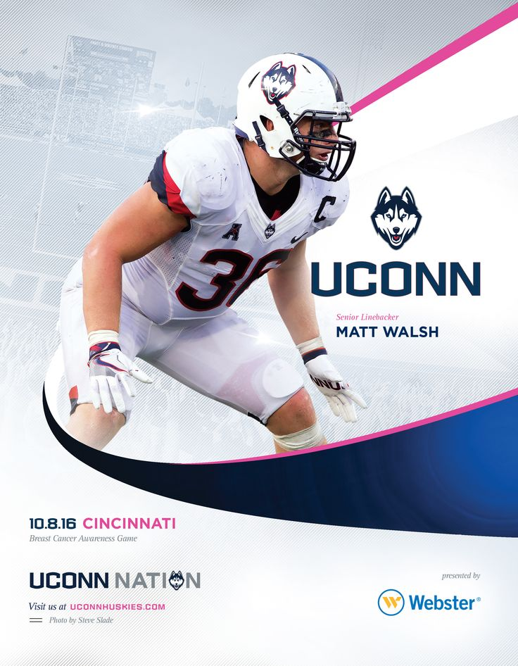 The 2016 @uconnhuskies Football Roster Card vs. Cincinnati is dedicated to Breast Cancer Awareness and features senior linebacker Matt Walsh on its cover. #UConnNation