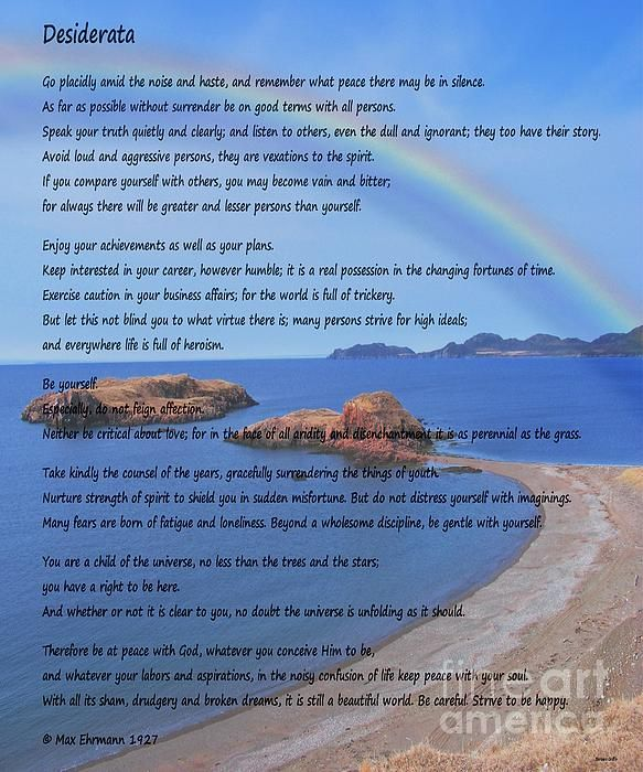 Desiderata on Beach Scene with Rainbow by Barbara Griffin. This beautiful inspirational poem is a credo for life; simple, positive words about things that are yearned for.