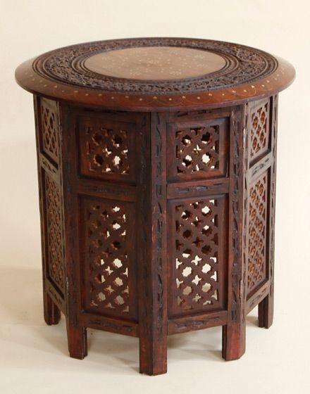 "Moroccan Brass Inlay Sheesham Wood Table 21"""
