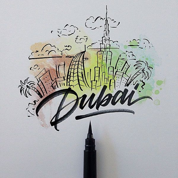 Dubai - Lettering Cities around the world with a Brushpen by David Milan