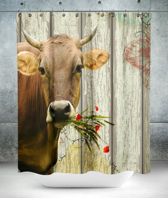 Cow Shower Curtain Farmhouse Chic Faux Wood : by FolkandFunky