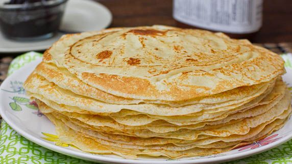 Crepes - Flour, egg, milk, butter, vanilla, sugar, salt - fill with nut butter and fruit puree.