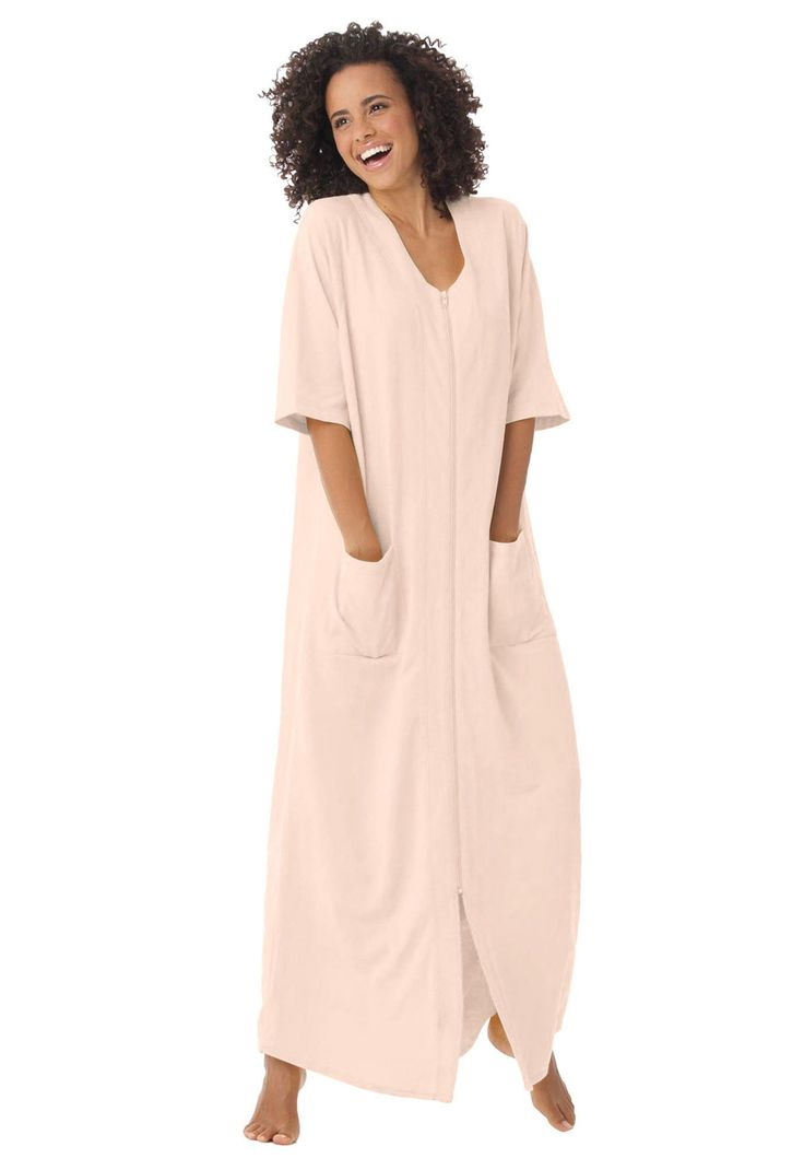 "Searching for the perfect robe? You've finally found it. Long and luxurious and made from supremely soft French terry, our plus size robes feel soft and look feminine.  straight style for total freedom of movement robe 52"", ankle length baseball-style neckline is open and airy short sleeves have roomy armholes full front zip, patch pockets, slight shirttail hem, screen-printed labels for smooth comfort washable soft cotton/polyester French terry knit; imported keep co..."