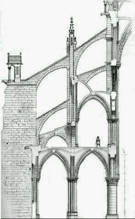 Ornate drawing of a Medieval 'Flying Buttress' design. This wasn't so much decoration but to support lower lateral force from the walls that took the huge thrust weight of the ceiling.